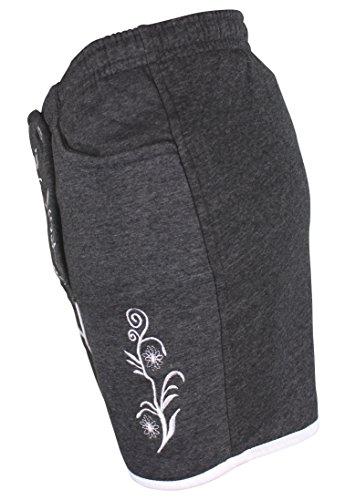 Kurze Damen Lederhosen Jogginghose Bestickt, 3x große Hosentaschen - flauschig weich - Damen Trachten-Hose für Oktoberfest oder Alltag - Bayrische Hose in Lederhosenoptik (S, Dunkelgrau) -