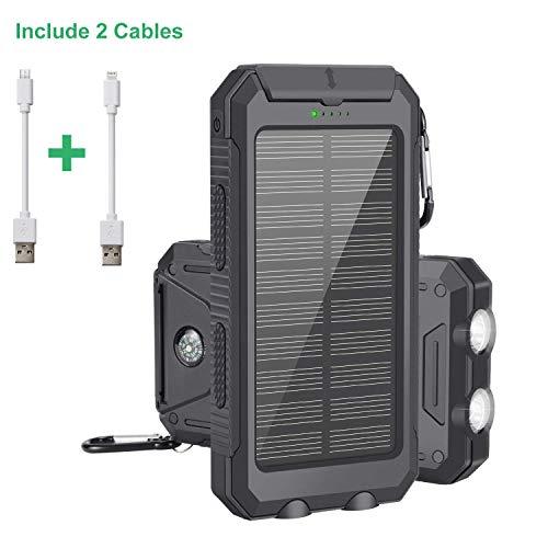 Caricabatterie Solare, Solar Power Bank 10000mAh con Cavo IOS e Android, Esterno Pack Caricatore USB...