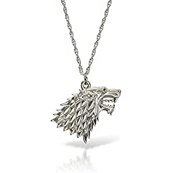 Juego de Tronos Casa Stark collar con colgante de lobo plateado