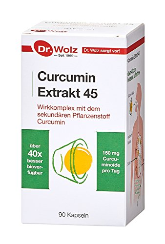 Curcumin Extrakt 45 Dr. Wolz | über 40-fach höhere Bioverfügbarkeit | Vegan | 90 Kapseln | Kurkuma