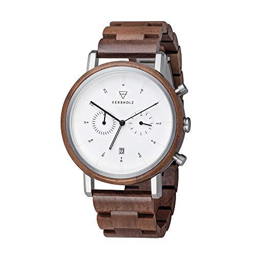 Kerbholz Herren Chronograph Quarz Uhr mit Holz Armband 4251240409092
