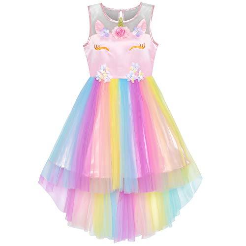 Sunny Fashion Vestito Bambina Fiore Unicorno Arcobaleno di Halloween Festa 10 Anni