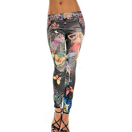 Saoye Fashion Pantalones Vaqueros Largos De Otoño para Mujer Pantalones Ropa Vaqueros Destruidos Mirada Colorida Mariposa Impresiones De Tatuajes Leggings Treggins