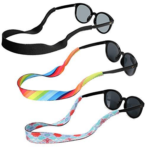 Hifot laccio occhiali cordino sole sport uomo donna bambino 3 Pezzi, Regolabile Galleggiante Cinturino Catena Occhiali da Sole, Neoprene Catenine e cordini