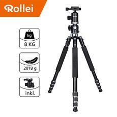 Trípode Rollei Traveler de Aluminio en Negro con rótula de Bola - Compatible con cámaras DSLR y DSLM - Incl. monopie, Placa de liberación rápida Arca Swiss y Bolsa para trípode
