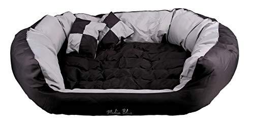 Mediablue Hundebett - Hundekissen - Hundesofa abwischbar mit Wendekissen (110 x 80 x 23, Black/Gray)