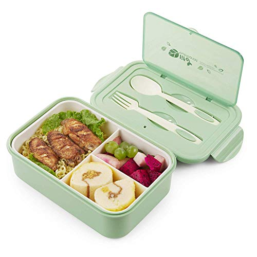 Sinwind Lunch Box, Porta Pranzo, Bento Box con 3 Scomparti e Posate(Forchetta e Cucchiaio), per...