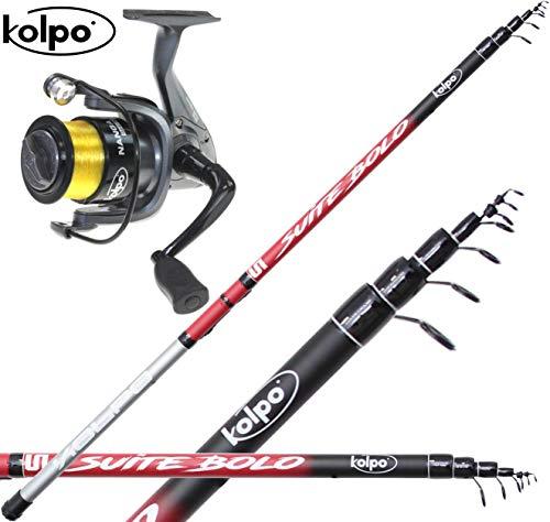 Kit per la Pesca Bolognese Canna Mulinello Filo Pesca in Mare Lago con Galleggiante 5 Metri