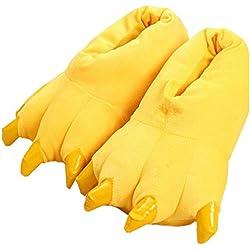 LANFIRE Zapatillas de casa de Felpa Suave Unisex Animal Disfraz de Pata de Garra (L (40-44 /EUR), Amarillo(Yellow))