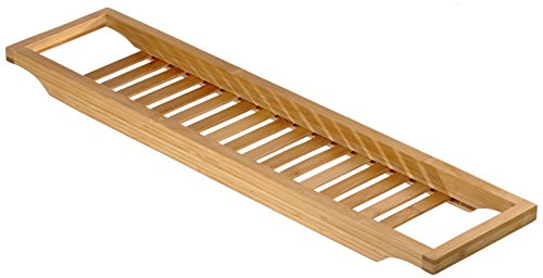 Relaxdays Badewannenablage aus Bambus mit Gitter HBT: 4 x 64 x 15 cm Wannenbrücke zur Ablage von Seife oder Schwamm Badewannenauflage aus hochwertigem Holz Wannenaufsatz als Badewannentablett, natur
