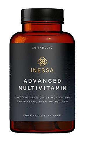 Multivitaminico con Vitamine, Coenzima q10 Antiossidante e Minerali di Inessa Wellness | Integratore per Dare Energia e contro la Stanchezza con Vitamina A, B, C, D, E e K | Vegan, senza Glutine e OGM