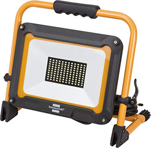 Brennenstuhl Mobiler LED Baustrahler JARO 7000 M (für außen, IP65, mit 5m Kabel, 80W, mit Schnellspannverschluss) schwarz/gelb