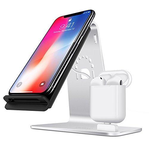 Bestand 2 in 1 stazioni di cambio in alluminio & cavo di carica senza fili Qi Fast per iPhoneX/iPhone 8 plus / iPhone 8/Samsung S8 e altri dispositivi con Qi attivato, argento