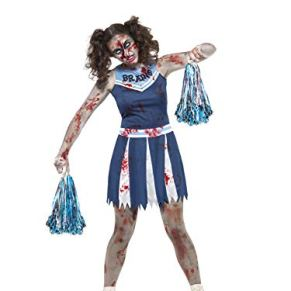 Smiffy'S 45614Xs Disfraz De Animadora Zombi Con Vestido Y Pompones, Azul