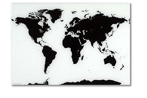 Naga, lavagna magnetica in vetro, motivo mappamondo, 80x 55cm,nero/bianco