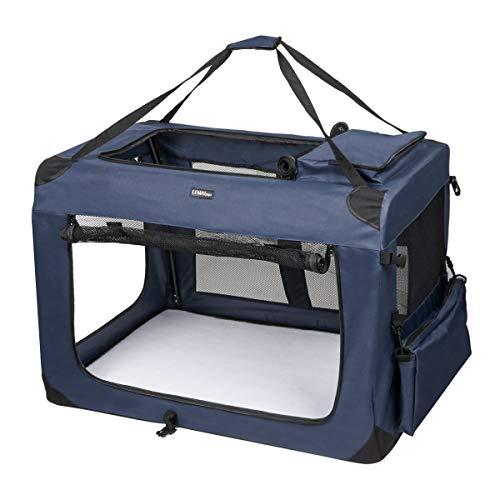 LEMAIJIAJU Caisse de Transport Chat Sac de Transport Pliable Cage de Transport pour Chien et Chat Animal Tissu Oxford Bleu Foncé - XXXL 102c... 7