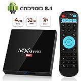 Android 8.1 TV Box, Superpow Smart TV Box Quad Core 4GB RAM+32GB ROM, BT 4.1, 4K*2K UHD H.265, HDMI, USB*3, WiFi Media Player, Android Set-Top Box (black)