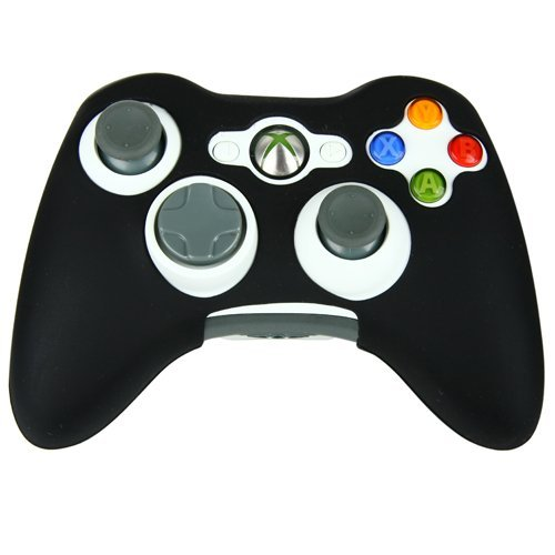 Microware Soft Silicon Protector Skin Case Cover Compatible For Microsoft Xbox 360 Controller Game Color Black