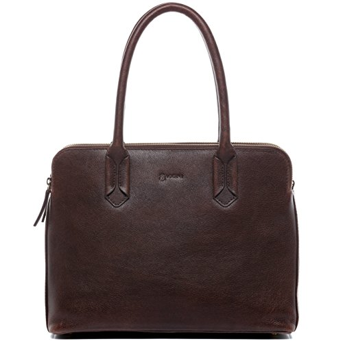 BACCINI Businesstasche echt Leder Rosaria Laptoptasche 13 Zoll Laptop Aktentasche Laptopfach Damen braun
