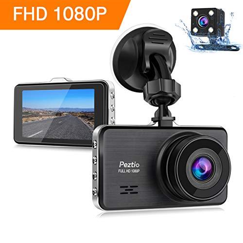Dashcam Full HD 1080P Autokamera 3 Zoll IPS Dashcam Auto Vorne Hinten with Nachtsicht, 170° Weitwinkelobjektiv, G-Sensor, Loop-Aufnahme, Bewegungserkennung, Parkmonitor, WDR