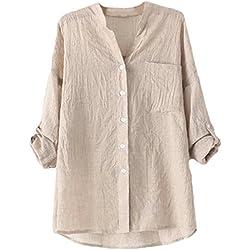 La vogue Damen V-Ausschnitt Langarm Loose Fit Blusen T-Shirt Beige 2XL-Bust110