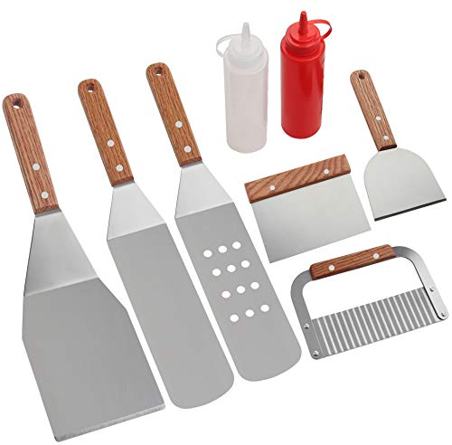 Romanticist 8Pcs Accessori per Grill Kit Attrezzi per Barbecue - Set di Spatole per Uso...