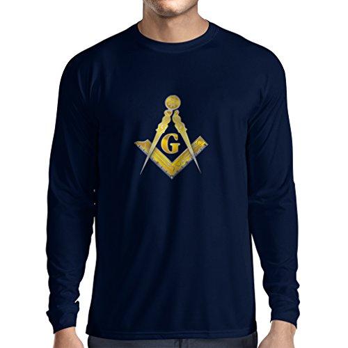 Camiseta de Manga Larga Francmasonería - Masón - masónico - símbolo Cuadrado y el compás con G (Small Azul