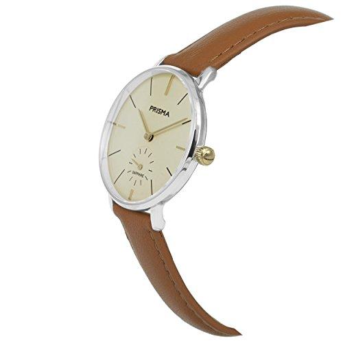 Prisma Damen Armbanduhr Retro Corum, Edelstahl silber mit Analog Quarzwerk, 5 ATM und Saphirglas P.1440 - 2