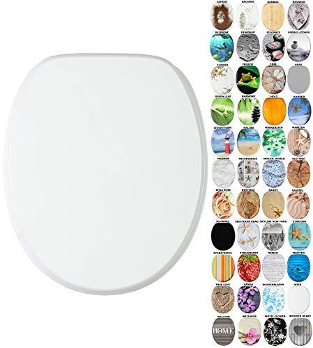 WC Sitz mit Absenkautomatik, viele schöne WC Sitze zur Auswahl, hochwertige und stabile Qualität aus Holz (Weiß)