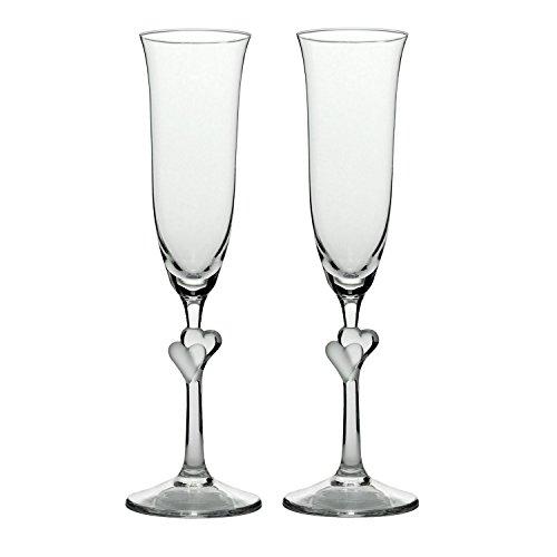 Stölzle_Lausitz 388 52 07 - Set di 2 calici da Champagne L'Amour, con Cuore Satinato, 175 ml