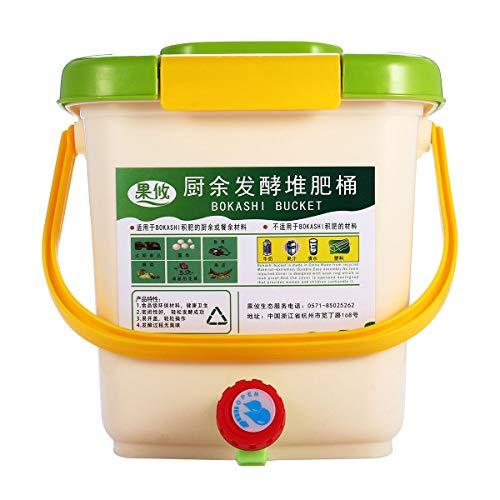 Desconocido Bokashi - Cubo de Basura para Compost, 12 L, aireado, para Cocina, residuos de Alimentos, jardín, Reciclaje de compostaje