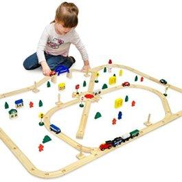 eyepower Trenino di Legno + Linea Ferroviaria + Accessori 140x110cm   ca 6m di binari per treno   96