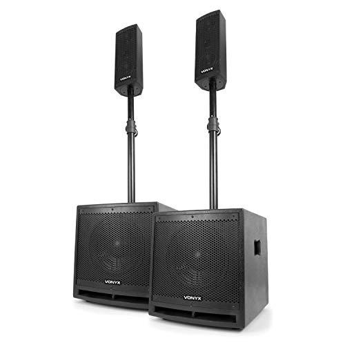"""Vonyx VX1000BT - 2.2 Aktivlautsprecher-Set, Boxensystem, 1000 W, 2 x 10""""-Subwoofer, 2 x 2,5""""-Mitteltöner, 1 x 2,5""""-Hochtöner, Bluetooth, USB, SD, AUX, Mikrofon, Fernbedienung, schwarz"""