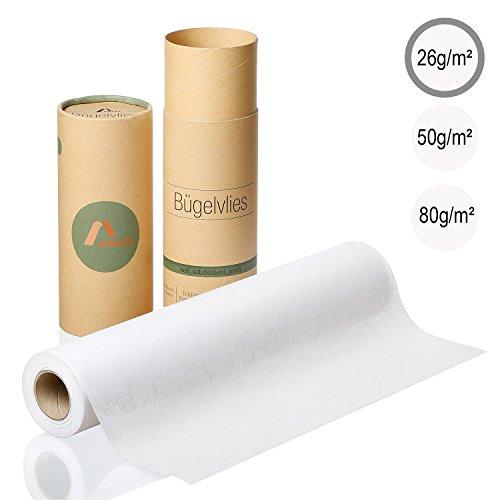Amazy Tessuto di rinforzo adesivo per tessuti leggeri (bianco | 26g/m2) – Carta termoadesiva per...
