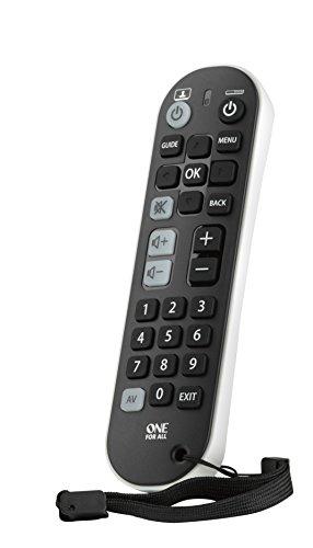 One For All Zapper+ URC6820 - Telecomando Universale - Controlla TV, Set Top Box e Audio/Soundbar - Layout Semplice - Funziona con Tutte le Marche - Nero