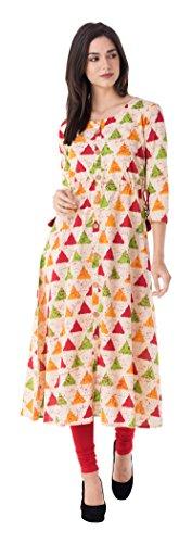 GULMOHAR JAIPUR Women's Cotton A-Line Kurta (GC1032YELLOW-XXL, Multi-Coloured, XX-Large)