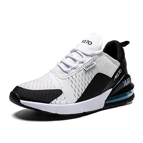 Uomo Scarpe da Ginnastica Corsa Sportive Traspirante Casual All'Aperto Trekking Fitness Running Antiscivolo Leggero Sneakers(270-N/Bianco,45EU)