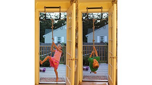 This indoor gym is designed to fit on standard doorways, where a swing, trapeze bar, rope bar, and other supplied accessories can be attached for children to exercise in the comfort of their rooms.