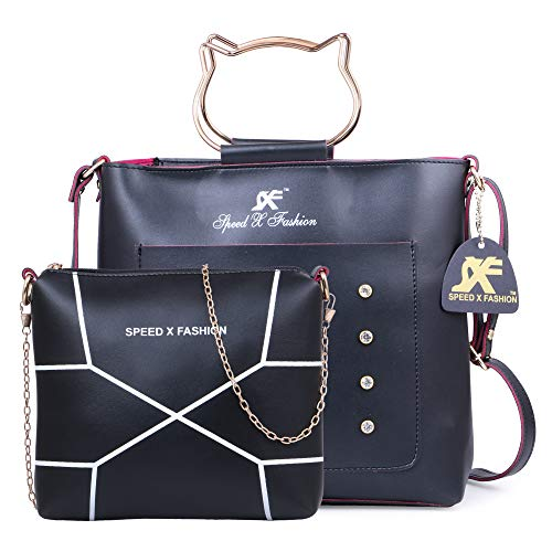 Speed X Fashion Women's/Girls Handbag Sling Bag Combo Black