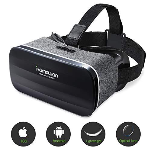Gafas de Realidad Virtual, [Regalos] HAMSWAN 3D VR Peso Ligero 238g, VR Glasses Visión Panorámico 360 Grado Película 3D Juego Immersivo para Móviles 4.0-6.0 Pulgada