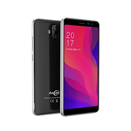 Smartphone, AllCall Rio X Dual-Kameras 13MP + 5MP-Mobiltelefon, 5,5 Zoll 18: 9 Bildschirmanzeige, 1 GB RAM + 8 GB ROM Android 8.1 MTK6580M Quad Core, Eingebautes 2850mah, 3G Smartphone (Schwarz)