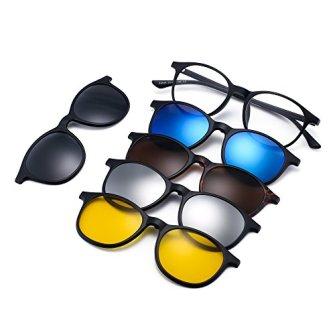 Magntico-5-Piezas-Polarizadas-Clip-en-Gafas-de-Sol-Marco-Plstico-Redondo-Para-Conduccin-Nocturna-2245A