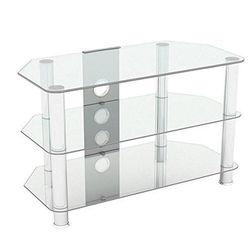 Supporto in vetro nero lucido per TV LCD, al plasma e curvo 80 cm Clear Glass with Cable Management