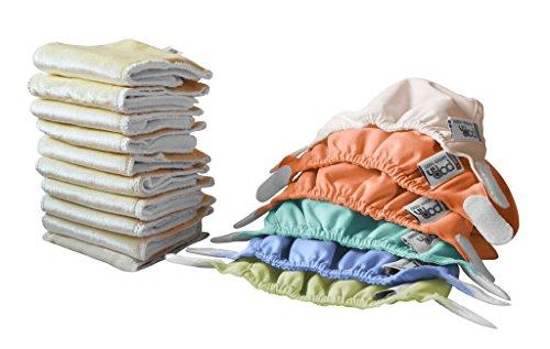 Close Baby Carrier - Set di pannolini di stoffa per neonati, 10 inserti assorbenti e 6 mutandine esterne, tinte pastello assortite