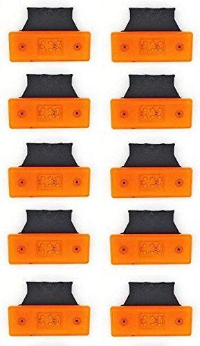 10pezzi 6LED arancione 24V Side Outline Marker Lights con staffe rimorchio telaio camion...