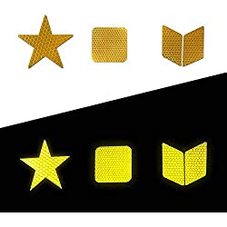 Muchkey Adhesivas Reflectantes Impermeable para señalización Casco 21pcs Amarillo
