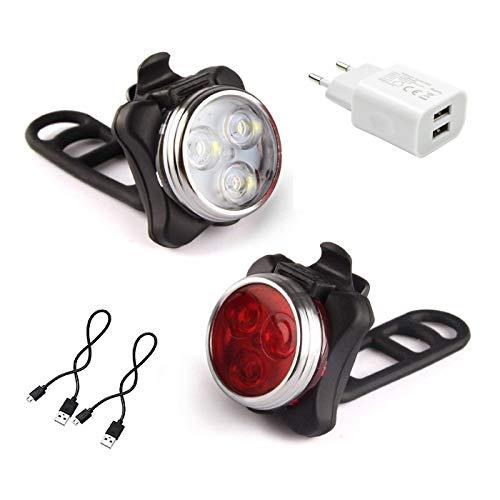 AMANKA Luci per Bicicletta, Set Luce Bici LED Light con 5V/2A Caricabatterie, 350LM, Luci Bici LED...