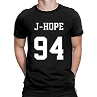 PrintOctopus Graphic Printed T-Shirt for Women | Half Sleeve Women's T-Shirt | Kpop BTS T-Shirt for Girls | Kpop BTS Jin Jimin Suga V RM Jungkook J-Hope Jersey T-Shirt (Black, M)