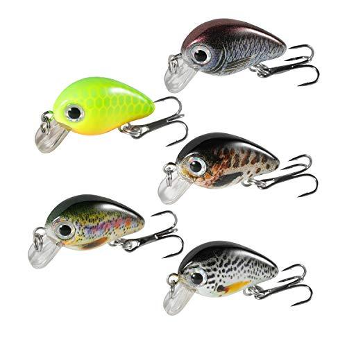 Magreel Crankbaits Set di Mini Esche da Pesca VIB, Kit di Esche galleggianti per Pesca alla Trota, spigola, persico, luccio con Scatola, Confezione da 5 Pezzi