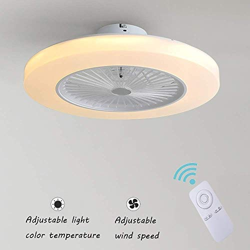 Deckenventilatoren Mit Beleuchtung 36W Creative Invisible Fan LED-Deckenleuchte Fernbedienung Dimmbar Ultra-leise Kann Timing Fan Kronleuchter Modernes Wohnzimmer Schlafzimmer Fan Lampe Φ58 * H20cm